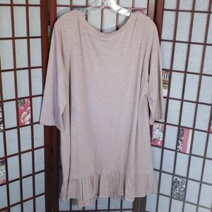 LOGO by Lori Goldstein Dresses - LOGO old pink 3/4 sleeves tunic with ruffle dress